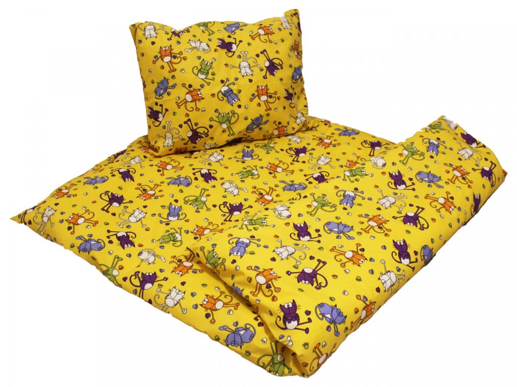 Dětské bavlněné povlečení Kocourek žlutý 1