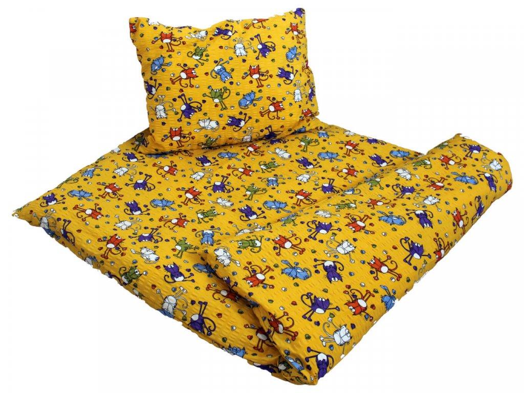 Krepové obliečky Kocúr žltý