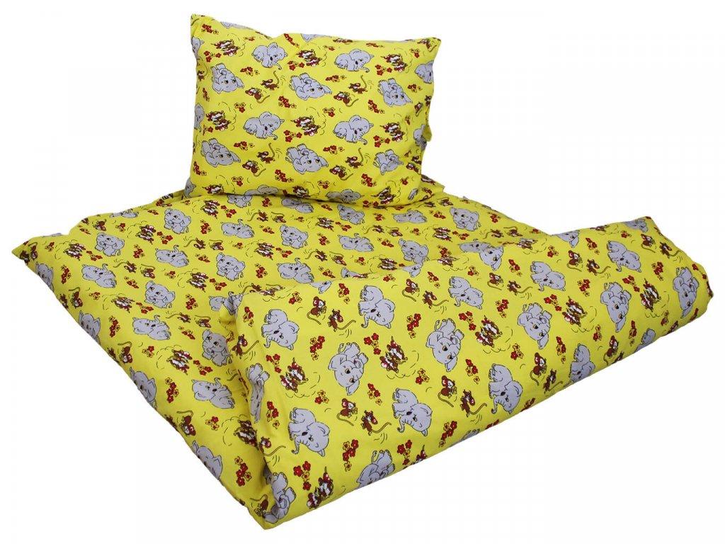 Bavlnené obliečky Slon žltý