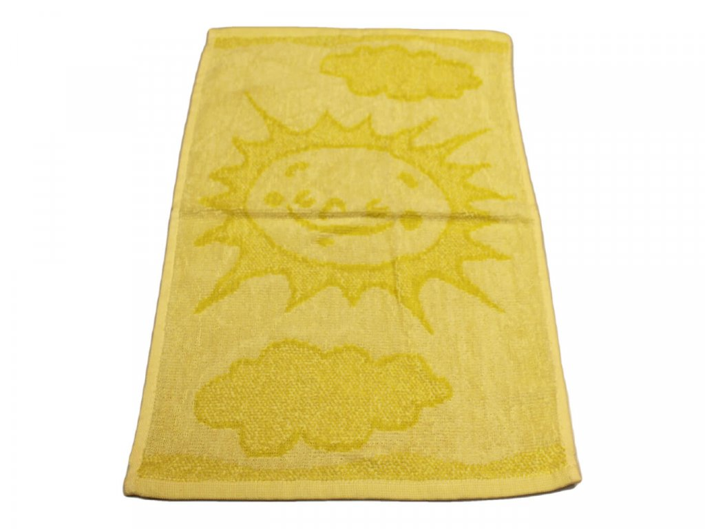 Obrázkový dětský ručník pro mateřské školy 30x50 cm Sluníčko žluté 1