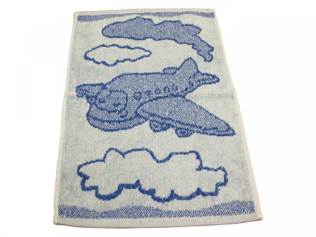 Obrázkový dětský ručník pro mateřské školy 30x50 cm Letadlo modré 1