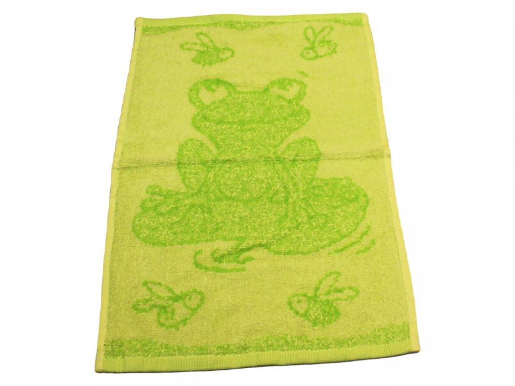 Obrázkový dětský ručník pro mateřské školy 30x50 cm Žabička zelená 1
