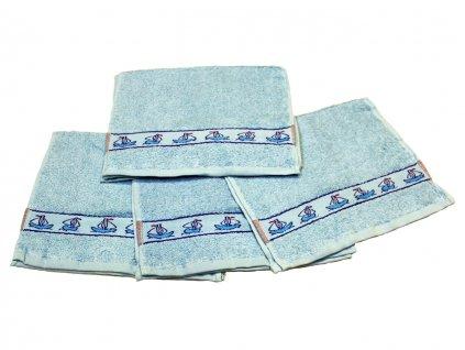 Obrázkový dětský ručník pro mateřské školy 30x50 cm Lodička modrá