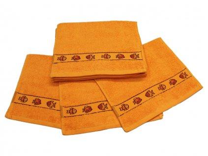 Obrázkový dětský ručník pro mateřské školy 30x50 cm Rybička oranžová
