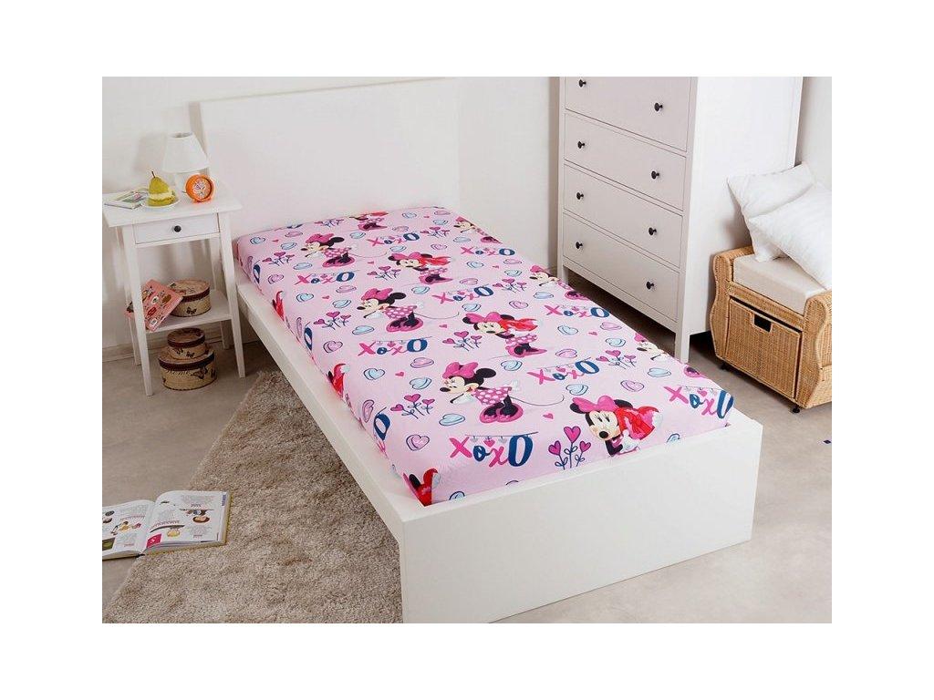 5249 bavlnene licencne prestieradlo s gumou minnie baby pink 90x200