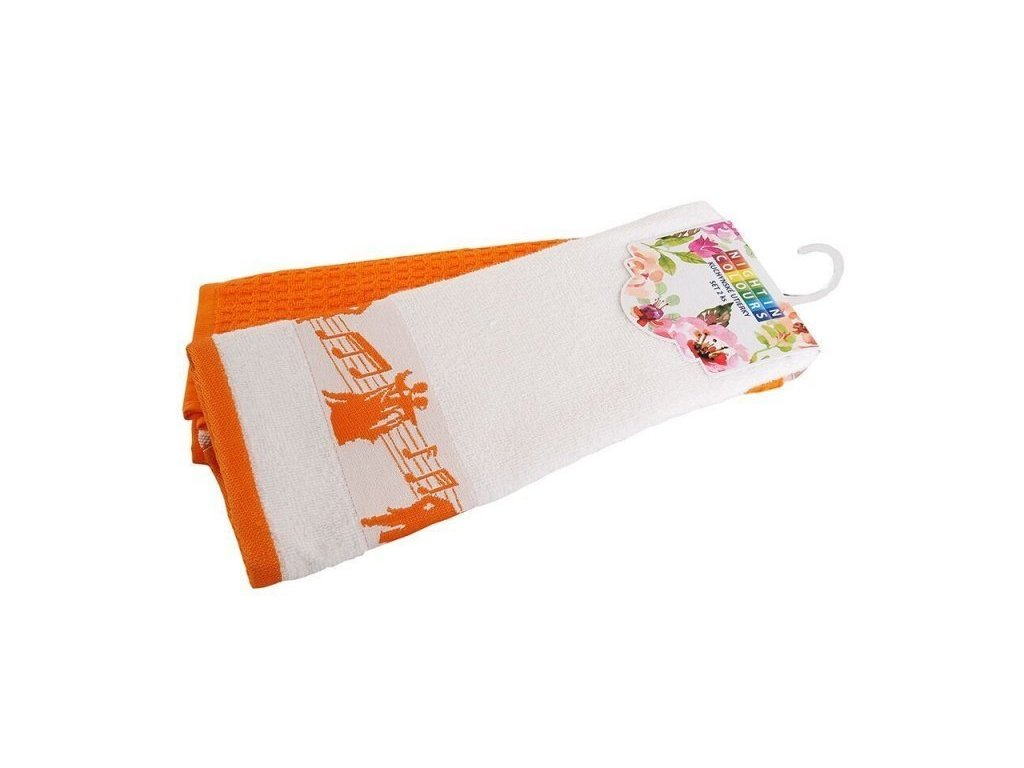 4151 bavlnene kuchynske utierky noty oranzova 40x60 cm