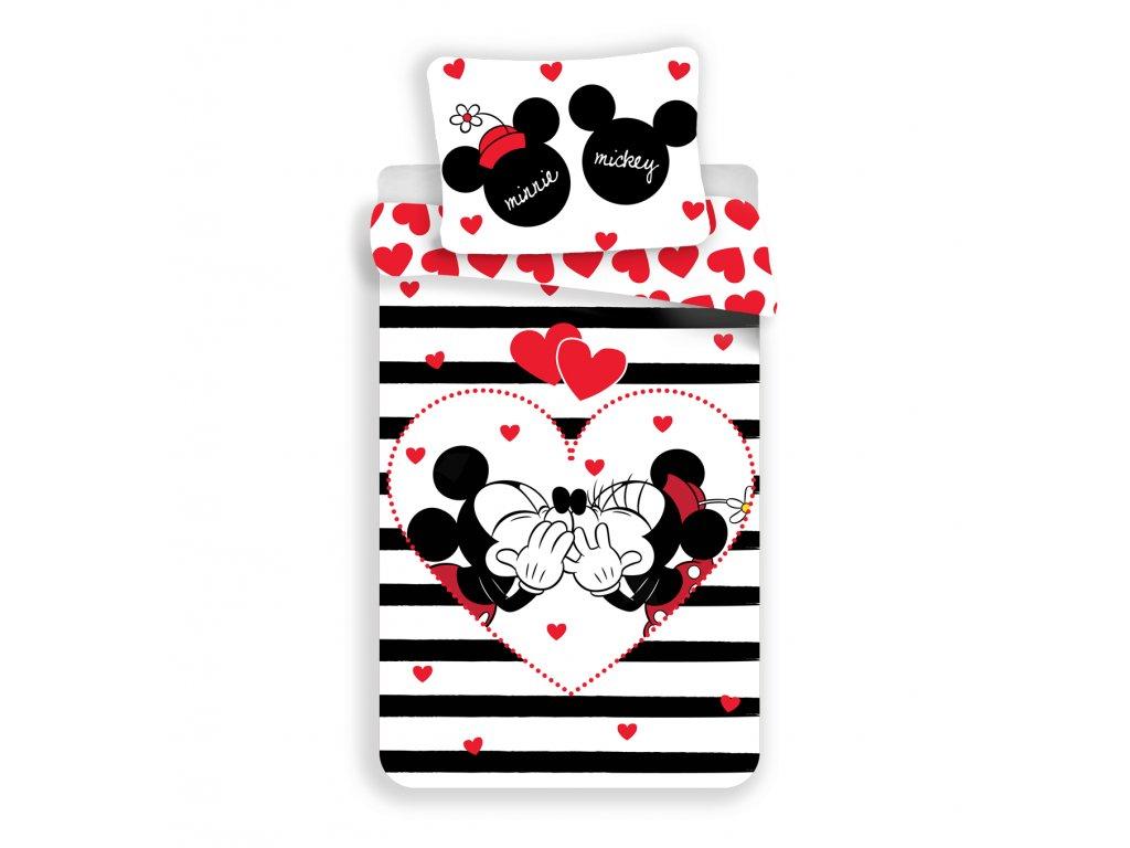 Bavlnené detské obliečky Mickey a Minnie in stripes 140x200