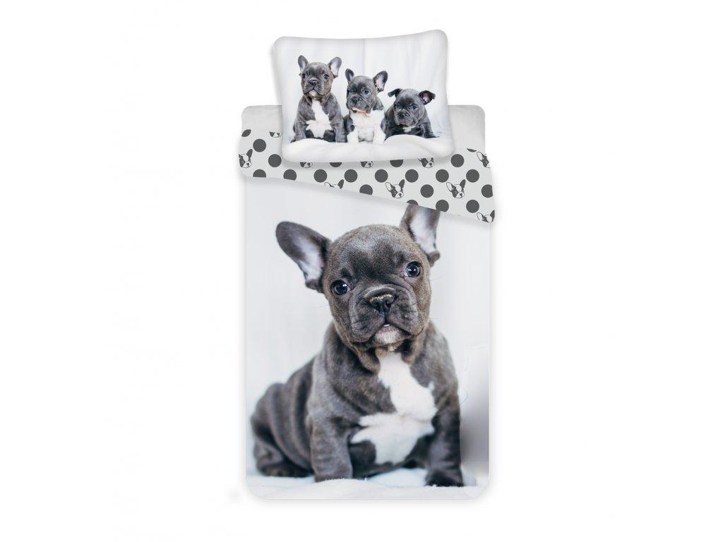 Bavlnené obliečky 3D fototlač so zipsom Bulldog 140x200