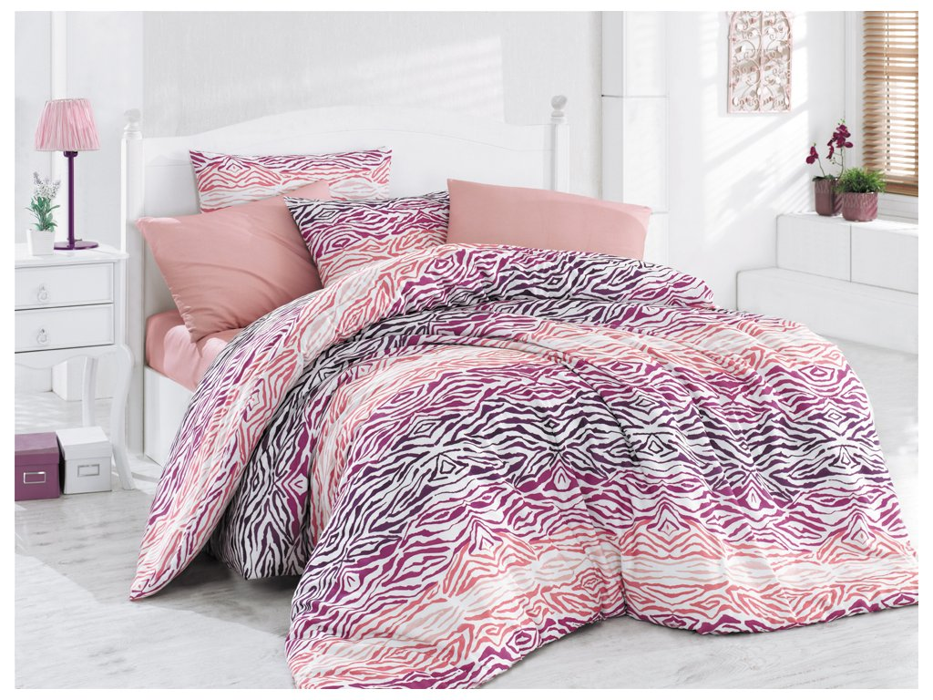 Bavlnené obliečky francúzsky rozmer Gravír Ružové 200x220