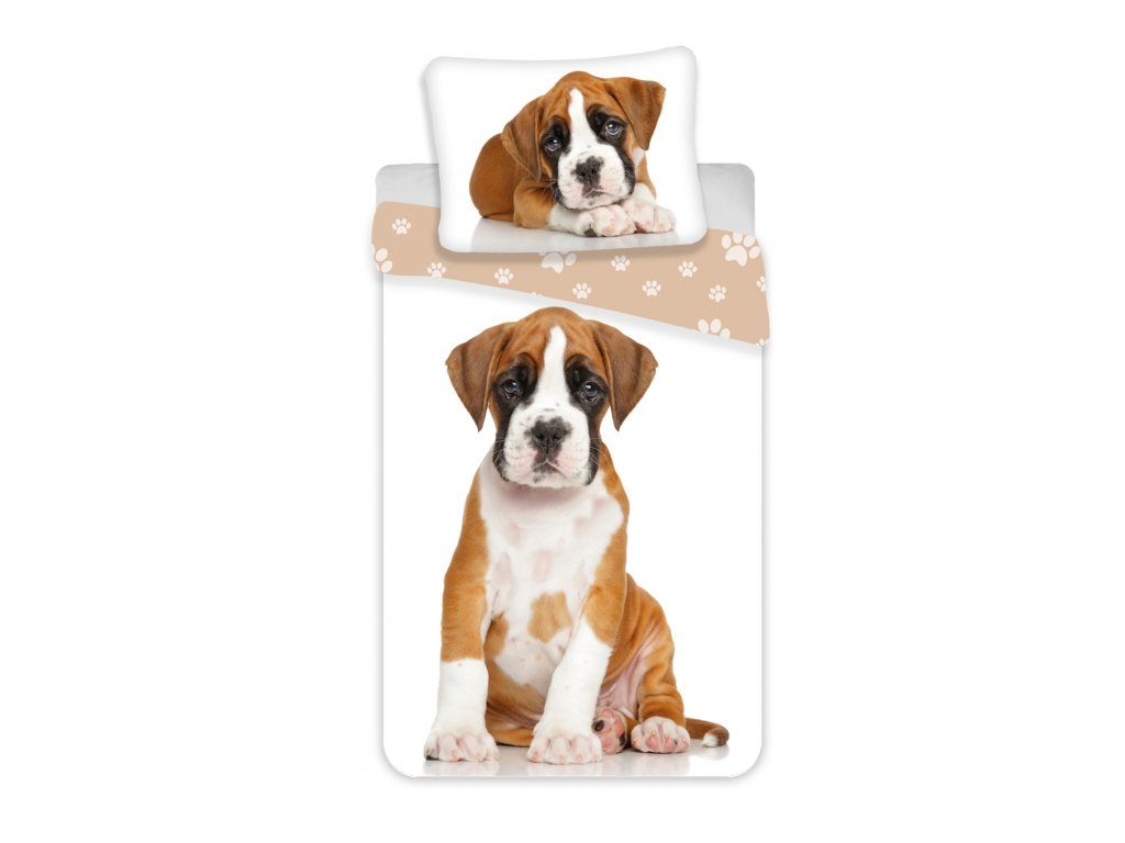 Bavlnené obliečky s 3D fototlačou Dog Brown 140x200 + 70x90