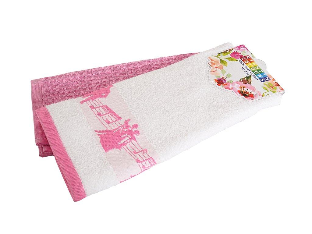 Bavlnené kuchynské utierky Noty ružová 40x60 cm