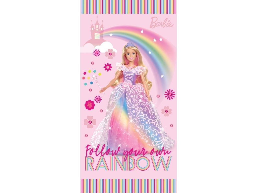 Bavlnená froté osuška licenčné 70x140 - Barbie dúhová princezná