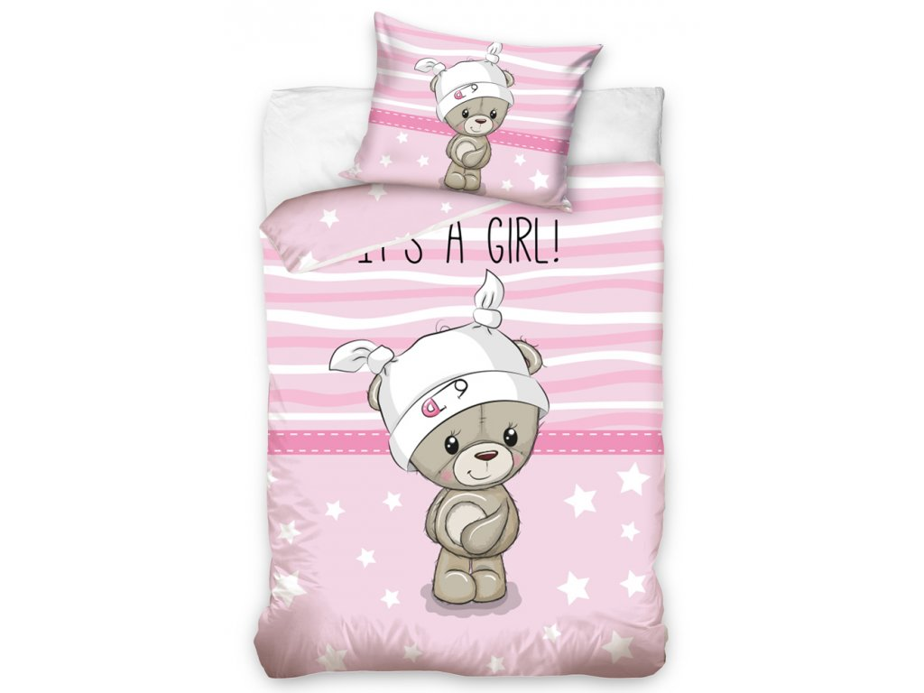 Obliečky Detské do postieľky 100x135 + 40x60 - Mazlík ružové