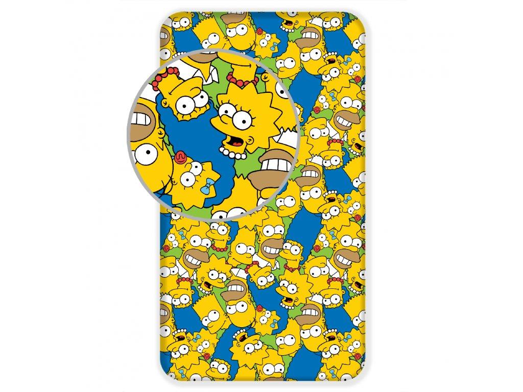 Bavlnené licenčné prestieradlo 90x200 s gumou - The Simpsons family Green