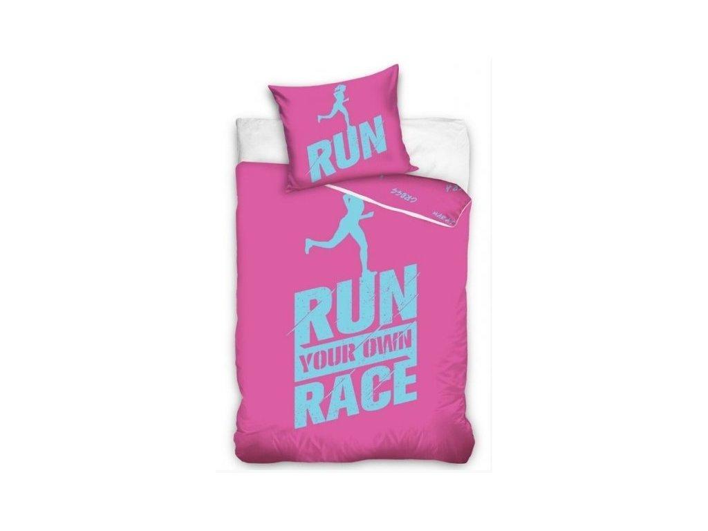 4715 obliecky licencne perkalove run race ruzove 140x200