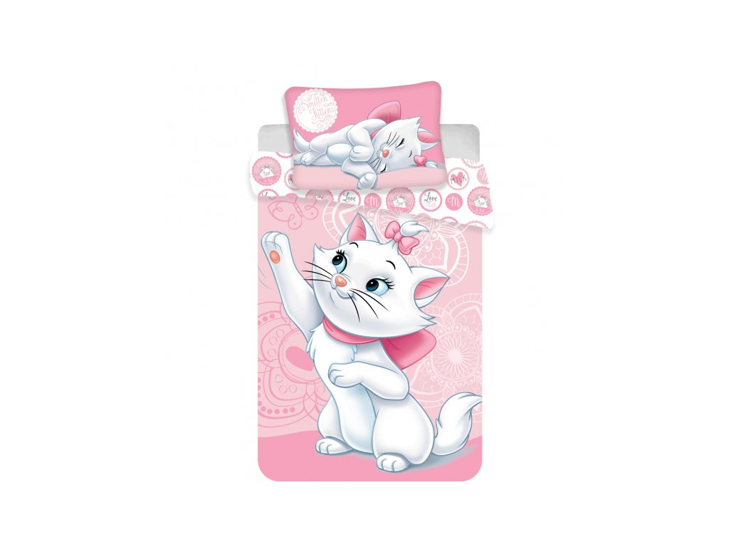 5255 detske obliecky do postielky marie cat baby rose 100x135