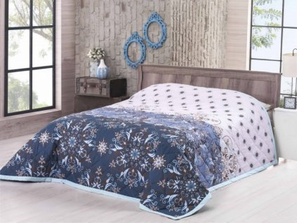 2417 bavlneny prehoz na postel jednolozko deluxe moscerino modra 160x220