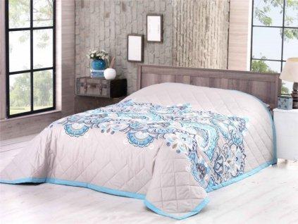 2420 bavlneny prehoz na postel deluxe granello modra 160x220