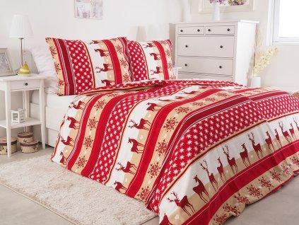 Flanelové Obliečky z bavlny Vianočné jeleň červený 140x200 + 70x90