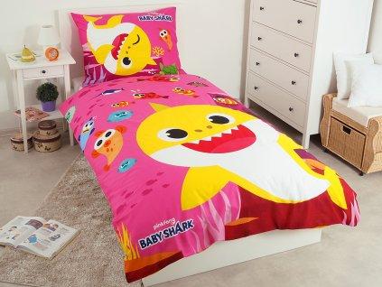 Detské licenčné bavlnené obliečky 140x200 + 70x90 - Baby Shark ružové