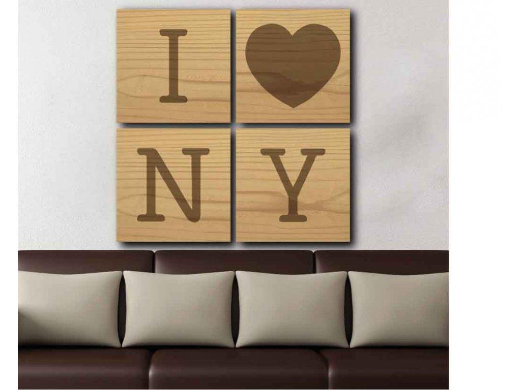Dřevěný obraz NY