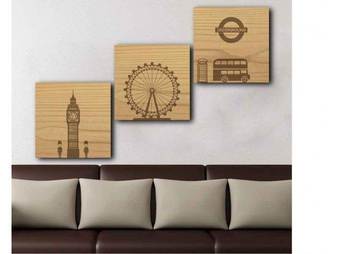 Dřevěný obraz Londýn