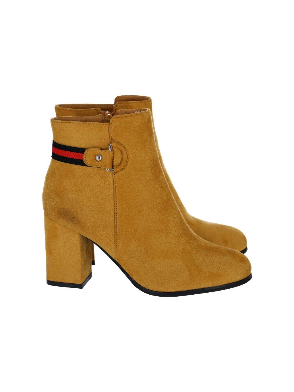 Semišové dámske čižmy na opätku žlté - (FARBA ŽLTÁ, VEĽKOSŤ 36, KATEGÓRIA Dámske členkové čižmy)