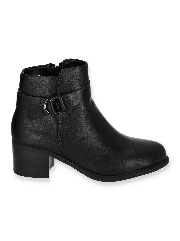 Kozene cierne damske cizmy na hrubom opatku PE212 BLACK 1