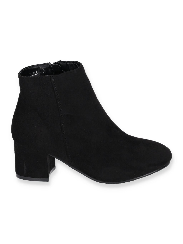 Kozene cierne damske cizmy na hrubom opatku PE213 BLACK 1