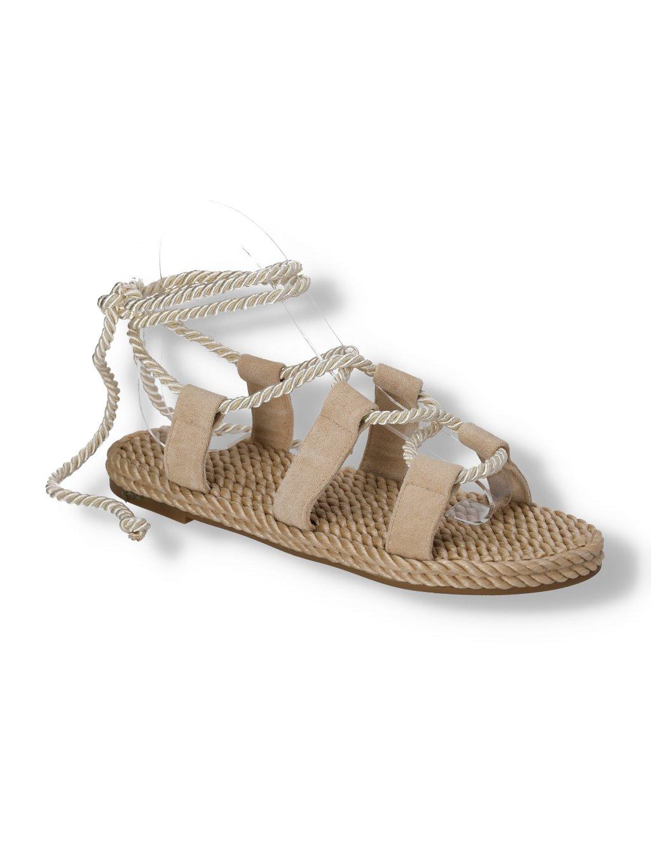 damske bezove snurovacie sandale OM5353-2 BEIGE 2