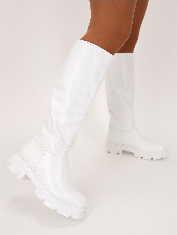 biele vysoke cizmy K265WHITE 4