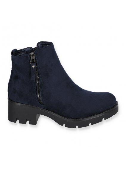 semisove modre damske cizmy na hrubom opatku NC832 NAVY 1