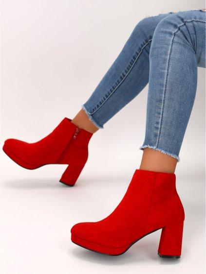 cervene semisove damske cizmy YQ217RED 1
