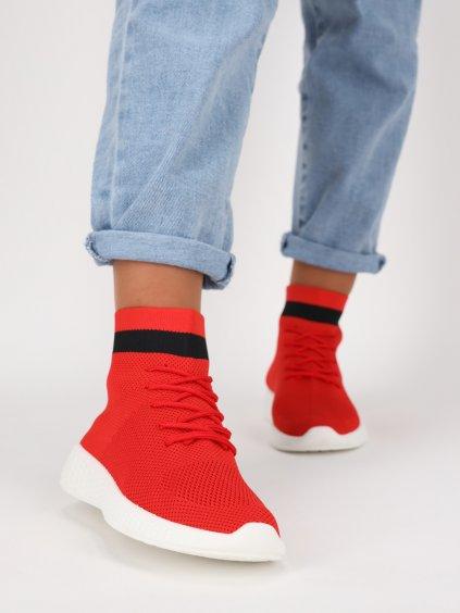 cervene kotnikove nasuvacie latkove tenisky so snurkami fy19red 1