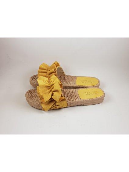 Dámske šľapky žlté semišové (FARBA ŽLTÁ, VEĽKOSŤ 37, KATEGÓRIA Dámske šľapky)