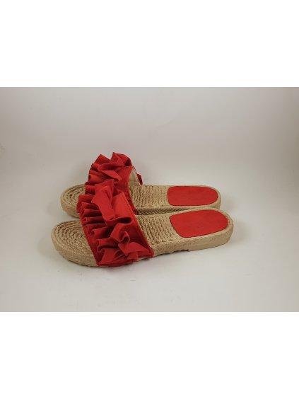 Červené dámske šľapky semišové (FARBA ČERVENÁ, VEĽKOSŤ 36, KATEGÓRIA Dámske šľapky)