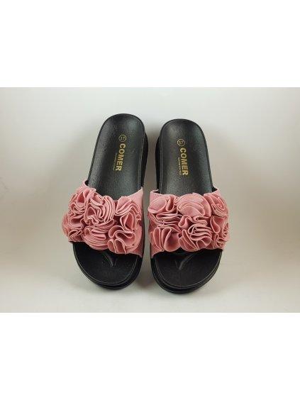 Ružové dámske šľapky s mašľou - 40 (FARBA RUŽOVÁ, VEĽKOSŤ 40, KATEGÓRIA Dámske šľapky)