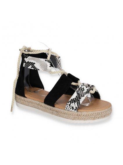 damske cierne snurovacie sandale na platforme BY21 1 BLACK 2