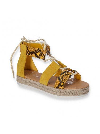 zlte damske sandale na platforme snurovacie BY21 3 YELLOW 2