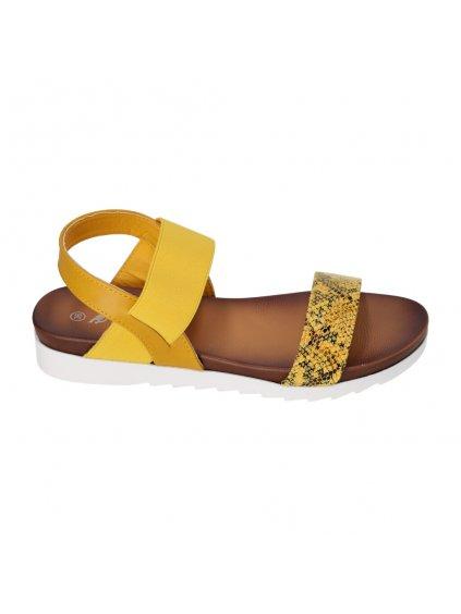 zlte sandále na rovnom podpatku cb1902 3 1