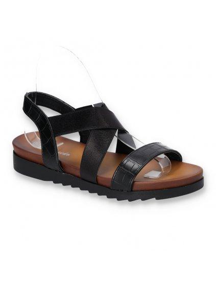 cierne damske lakovane sandale s elastickou gumou CB1903 1 BLACK 2