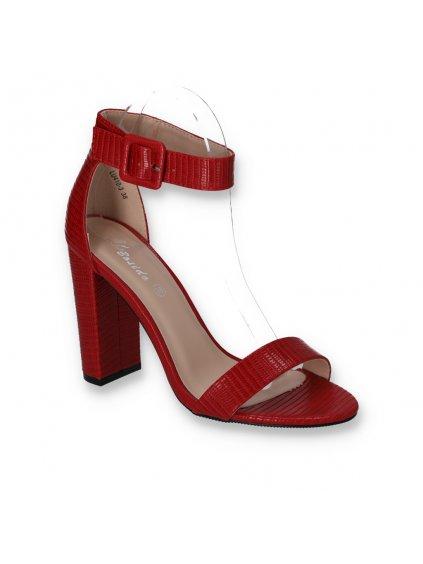 cervene damske sandale na vysokom hrubom podpatku LU410 3 RED 2