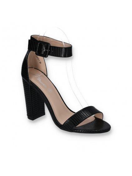 cierne damske lakovane sandale s remienkom na vysokom hrubom podpatku LU410 1 BLACK 2