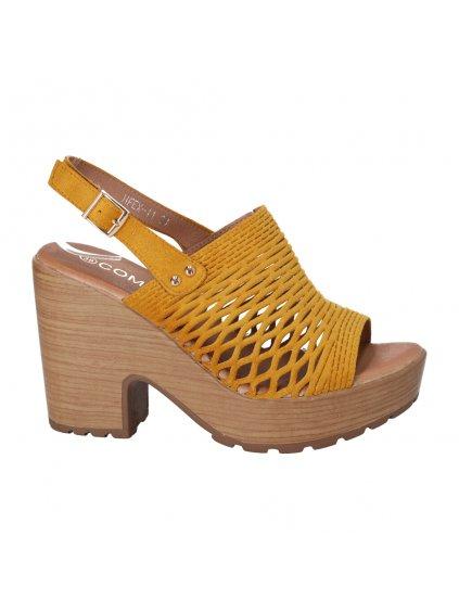 zlte sandale na platforme a pevnom podpatku HFEX 11 1