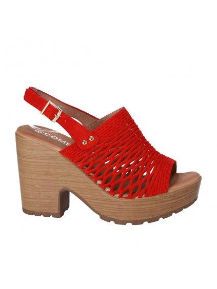 cervene sandale na platforme a pevnom podpatku HFEX 11 1