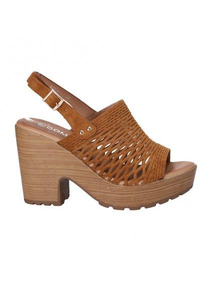 hnede sandale na platforme a pevnom podpatku HFEX 11 1