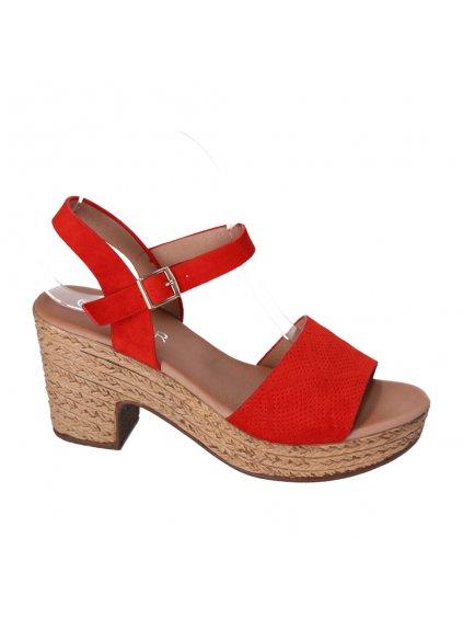cervene damske sandale na pevnom podpatku HFEX 16 1