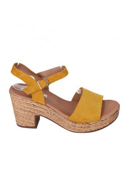 damske sandale na pevnom podpatku zlte HFEX 16 1