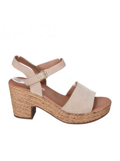 bezove damske sandale na pevnom podpätku HFEX 16 1