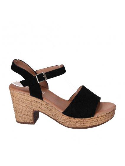 cierne damske sandale na pevnom podpatku HFEX 16 1